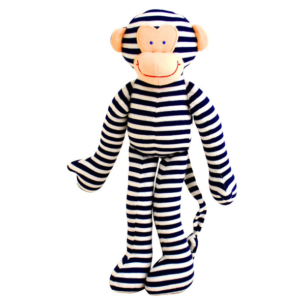 Alimrose Monkey Rattle Navy Stripe 30cm