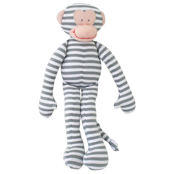 Alimrose Monkey Rattle Grey Stripe 30cm