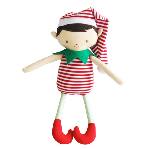 Alimrose Cheeky Boy Elf Rattle Red Stripe