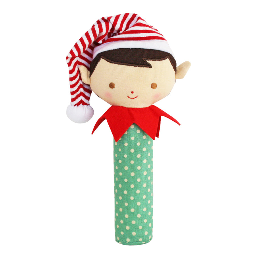 Alimrose Cheeky Elf Boy Squeaker Green Spot