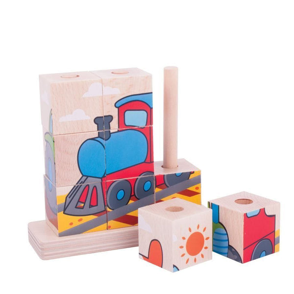 Bigjigs Wooden Stacking Puzzle Transport