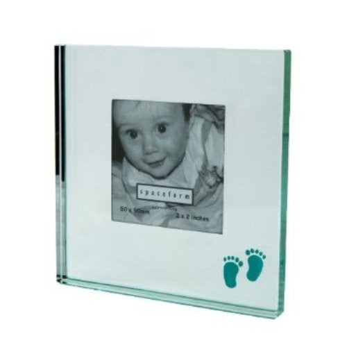 Spaceform Glass Baby Feet Photo Frame Boy