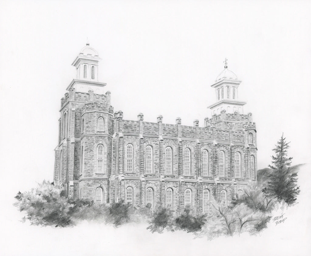 Logan Temple - Original Pencil Drawing