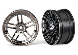 Traxxas 8371 Wheels 1.9 split-spoke (black chrome) (front) (2)