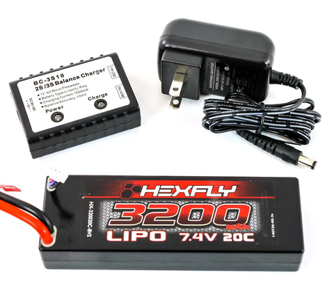 Redcat Racing Hexfly 3200mAh 20c 7.4v LiPo Battery Pack BC-3S10 Charger-Balancer