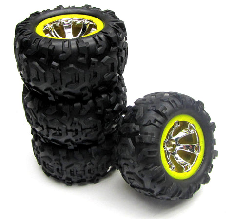1/16 Summit Tires & WHEELS (YELLOW, Set 4, Traxxas #72074