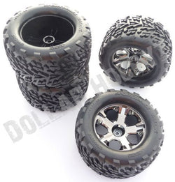Traxxas Stampede 4x4 VXL 4 TIRES & WHEELS 12mm Hex (nuts axles rim (6708)