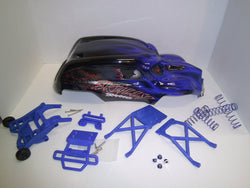 Traxxas Skully Blue Combination Package including Wheelie Bar, Skid Plates, Shock Springs, Wheel Nuts, Bumper