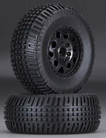 Qiyun Associated 9812 Front KMC Black Wheels Tires 2 SC10 2WD