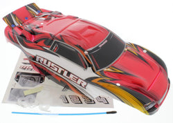 Traxxas RUSTLER XL-5 * Painted RED BODY & DECALS * black white yellow orange