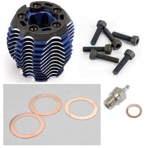 Traxxas Nitro 4-Tec 3.3 Engine ALUMINUM COOLING HEAD, BLUE ANODIZED & GLOW PLUG