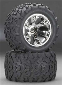 Traxxas Maxx Tires 6.3quot; Geode Chrome Wheels Assembled#44; Glued#44; Fits E-Maxx Brushless- TRA5674