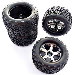 Traxxas 1/10 Stampede 4x4 VXL FRONT/REAR TALON TIRES, ALL STAR WHEELS 12mm