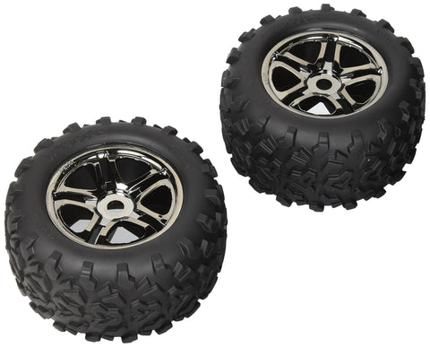 "Traxxas 4983A Maxx Tires 6.3"" Pre-Glued on SS Split Spoke, Black-Chrome Wheels, TSM Rated (pair)"