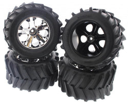 "TRAXXAS 2.8"" MAXX TIRES & ALL-STAR CHROME WHEELS 12MM, FROM A STAMPEDE 4X4, BEST WHEELS FOR ANY STAMPEDE"