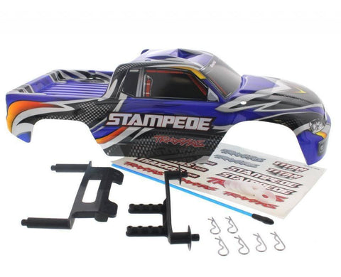 TRAXXAS STAMPEDE 2WD XL-5 BODY,BLUE BODY FACTORY PAINTED, COMES WITH CLIPS, WASHERS, DECALS, BODY POSTS, AND ANTENNA TUBE