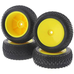 LOSI KING PIN TIRES AND YELLOW WHEELS, FOR THE LOSI 1/14 MINI 8IGHT, THESE TIRES GIVE YOUR MINI 8IGHT ITS BEST PERFORMANCE.