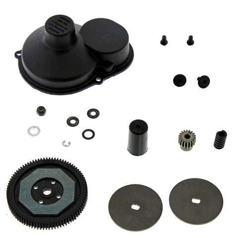 Arrma Raider XL Mega 1/8: 87T Spur Gear, 18T Pinion, Closed Cover, Slipper Hub