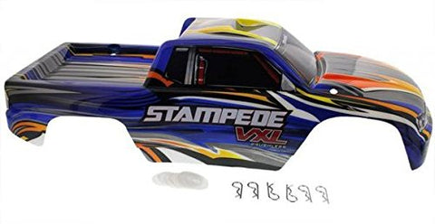 Traxxas Stampede VXL Blue, Black, Yellow & Orange body with clips & washers