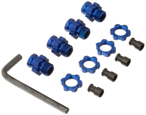 Traxxas 6856X Blue-Anodized Aluminum 17mm Hex Adapters (set of 4)