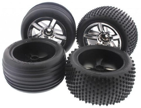 Traxxas Nitro Rustler 2.5 * TIRES & CHROME WHEELS * 12mm Hex Shredder Alias foam