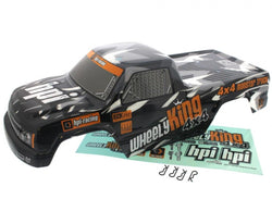 HPI 1/12 Wheely King 4x4 MINI GT-1 BLACK & GRAY TRUCK BODY, DECALS & 4 CLIPS by HPI Racing
