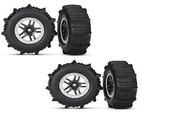 Traxxas Slash 4x4 Paddle Tires with Silver beadlock and Black Split Spoke wheels Set of 4!!