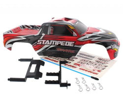 Traxxas Stampede 2wd XL-5 VXL * RED/BLACK BODY & SHOCK TOWERS * Decals Clips