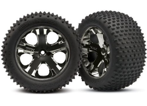 "Traxxas 3770A 2.8"" Alias Tires Pre-Glued on All-Star Black-Chrome Wheels (TSM Rated)"