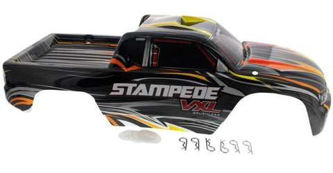 Traxxas Stampede VXL Black Body with Yellow and Orange, Body Clips & Washers