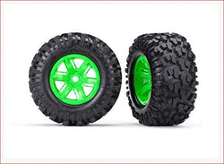 Traxxas TRA7772G Tires & Wheels, Assembled, glued (X-Maxx Green )