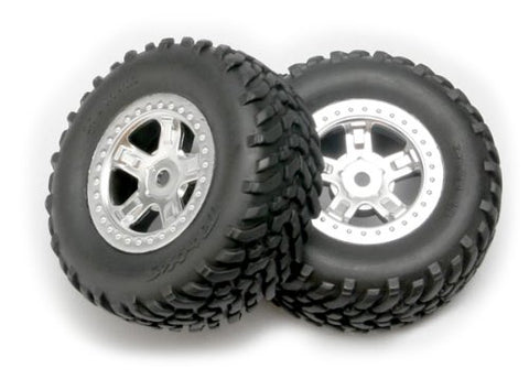 Traxxas 7073 1/16th Scale SCT Off-Road Racing Tires Pre-Glued on SCT Satin Chrome Wheels (pair)
