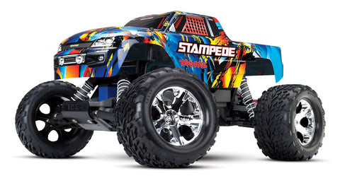 Traxxas 36054-4 RNR Stampede 1/10 Scale 2WD Monster Truck with TQ 2.4Ghz Radio - Rock N' Roll