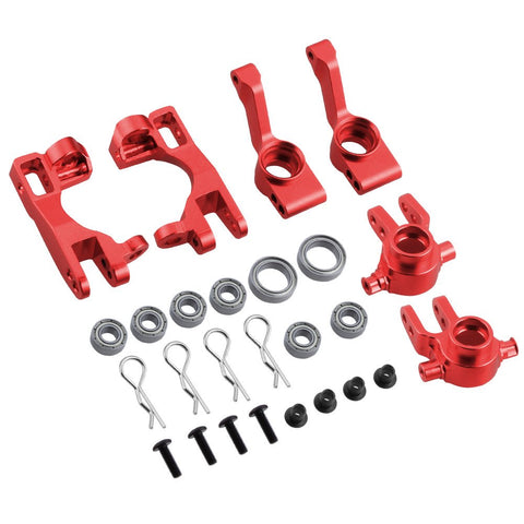 Hobbypark for 1/10 Traxxas Slash 4x4 Upgrade Parts Aluminum Left & Right  Steering Blocks Caster Stub Axle Carriers with Ball Bearings Replace 6837X