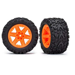 "Traxxas 2.8"" Orange RXT Wheels with Talon Extreme Tires (Rustler 2WD Rear)"