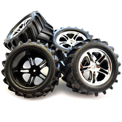 Traxxas E-Maxx 4 MAXX CHEVRON TIRES, FOAM INSERTS & 14mm SS CHROME WHEELS