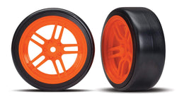 Traxxas 8376A Tires and wheels, split-spoke orange wheels, 1.9' Drift tires
