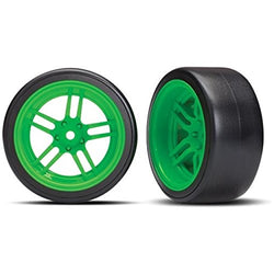 Traxxas 8377G Tires and wheels - assembled - glued (split-spoke green wheels -