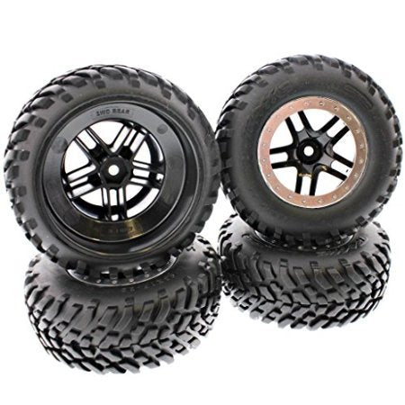 Traxxas Slash 2WD Set of 4 wheels/tires Black Split Spoke with Silver Beadlock