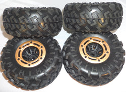 Redcat Rockslide RS10 XT Crawler Tires and Beadlock Rims Set of (4) 14mm