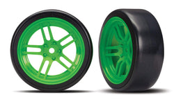 Traxxas 8376G Tires and wheels, glued split-spoke green wheels, 1.9' Drift tires
