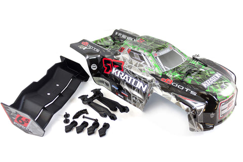 Arrma Kraton 6S BLX Painted Trimmed Body Green, Rear Wing 224mm & Mount AR406050