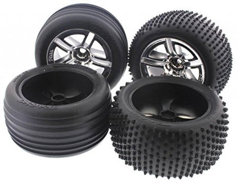Traxxas Nitro Rustler 2.5 FRONT & REAR ALIAS TIRES & SPOKE CHROME WHEELS 12m by Traxxas