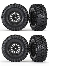 TRAXXAS TRX-4 CRAWLER 1.9 CANYON TRAIL TIRES & 12mm BLACK SPOKE WHEELS