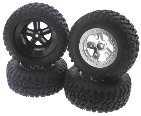 Traxxas 1/10 Slash 2WD VXL * TIRES, SILVER WHEELS & SILVER BEADLOCKS * 12mm Hex