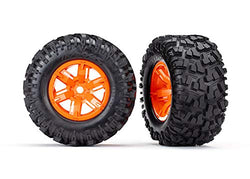 Traxxas TRA7772T Tires & Wheels, Assembled, glued (X-Maxx Orange Wheels)