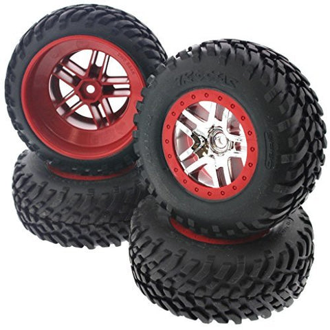 Traxxas Slayer 3.3 Pro SCT TIRES & 14mm HEX CHROME SPLIT SPOKE RED WHEELS by Traxxas