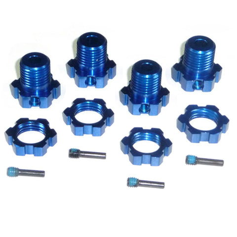 Traxxas NEW Revo 3.3 SPLINED BLUE ALUMINUM 17mm HEX HUBS, NUTS & SCREW PINS