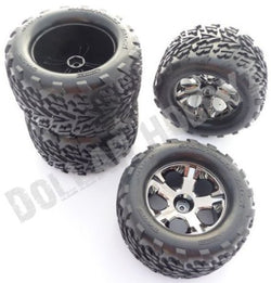 Traxxas Stampede 2WD VXL * 4 TALON TIRES & ALL STAR WHEELS 12mm Hex Black Chrome