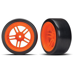 Traxxas 8377A Tires and wheels - assembled - glued (split-spoke orange wheels